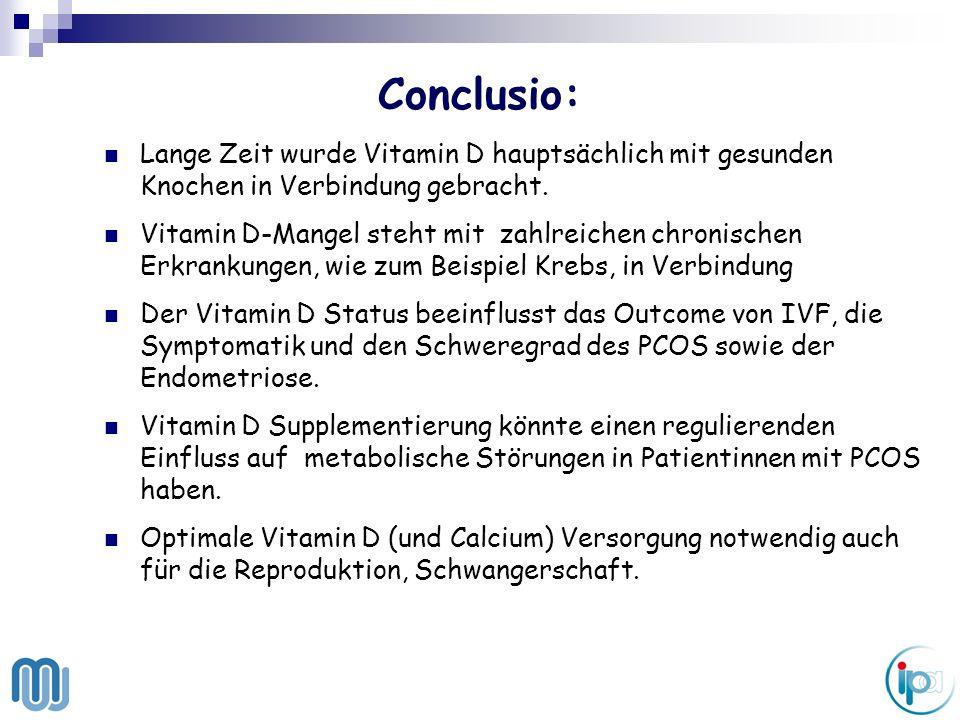 Conclusio: Lange Zeit wurde Vitamin D hauptsächlich mit gesunden Knochen in Verbindung gebracht. Vitamin D-Mangel steht mit zahlreichen chronischen Er