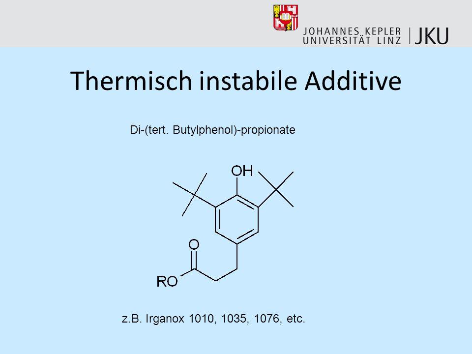 Thermisch instabile Additive Pyrolyse des reinen Additivs zur Bestimmung der entstehenden Bruchstücke Vergleich der Retentionszeiten sowie Massenspekt