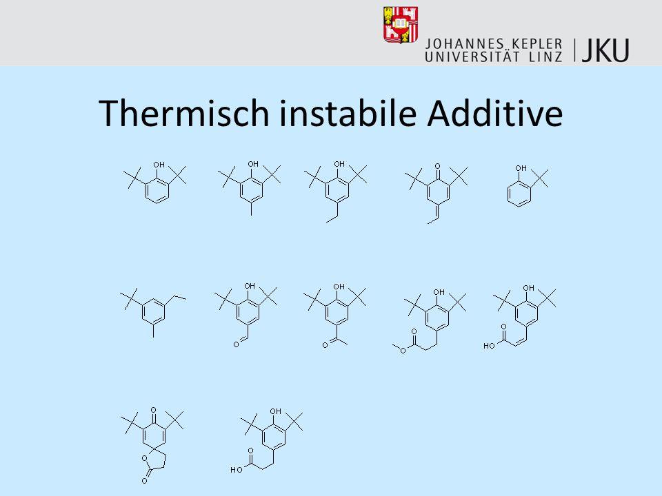 Thermisch instabile Additive Di-(tert. Butylphenol)-propionate z.B. Irganox 1010, 1035, 1076, etc.