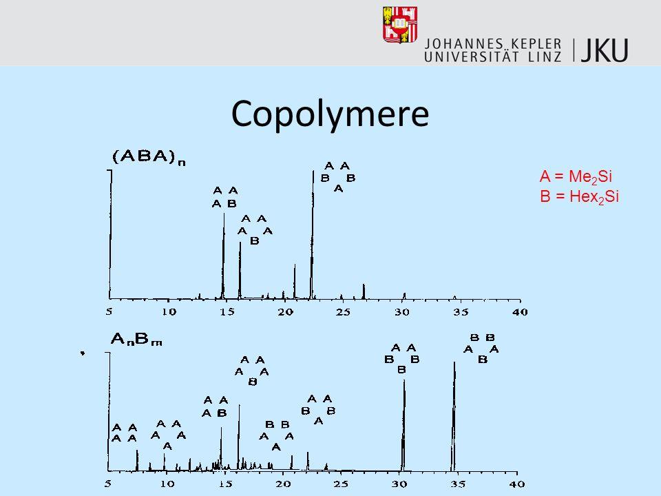 Es können auch Rückschlüsse gezogen werden, ob es sich um statistisch verteilte oder geordnete Copolymere handelt. Dazu betrachtet man die oligomeren