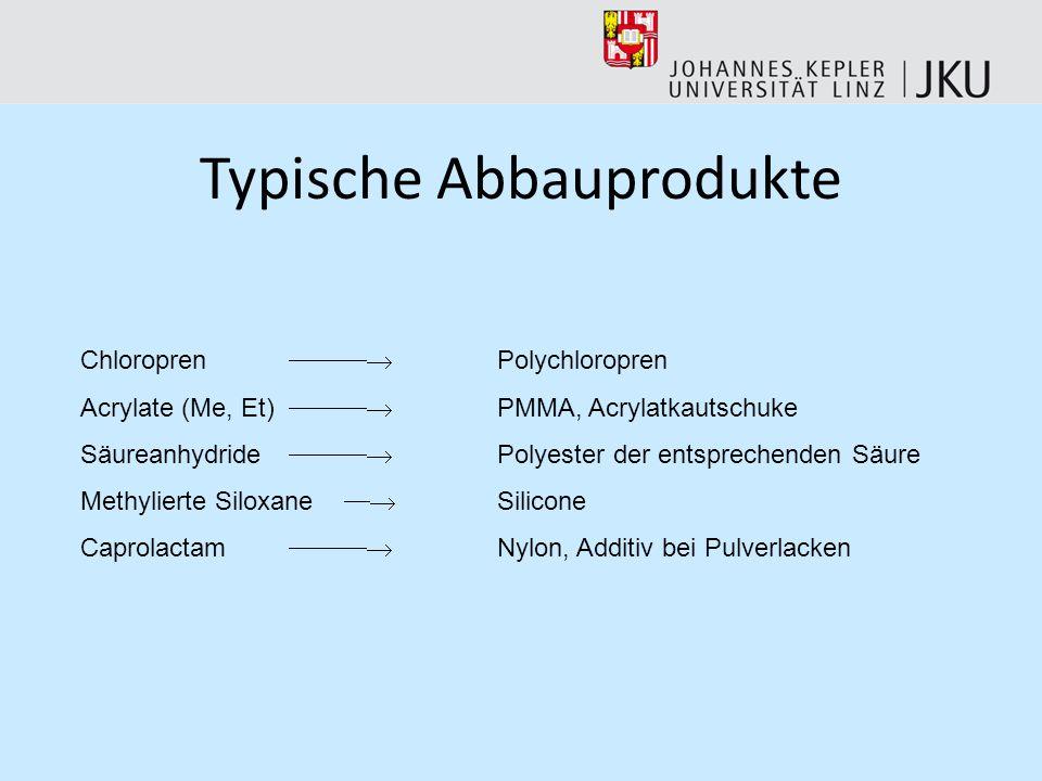 Typische Abbauprodukte Chloropren Polychloropren Acrylate (Me, Et) PMMA, Acrylatkautschuke Säureanhydride Polyester der entsprechenden Säure Methylierte Siloxane Silicone Caprolactam Nylon, Additiv bei Pulverlacken