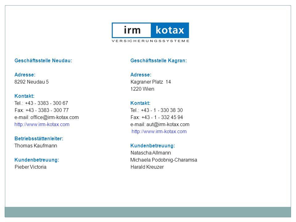 Geschäftsstelle Neudau:Geschäftsstelle Kagran:Adresse: 8292 Neudau 5Kagraner Platz 14 1220 Wien Kontakt: Tel.: +43 - 3383 - 300 67 Kontakt: Fax: +43 -