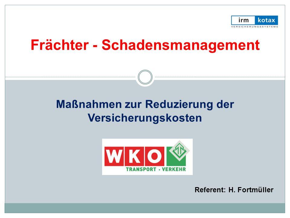 Maßnahmen zur Reduzierung der Versicherungskosten Frächter - Schadensmanagement Referent: H. Fortmüller