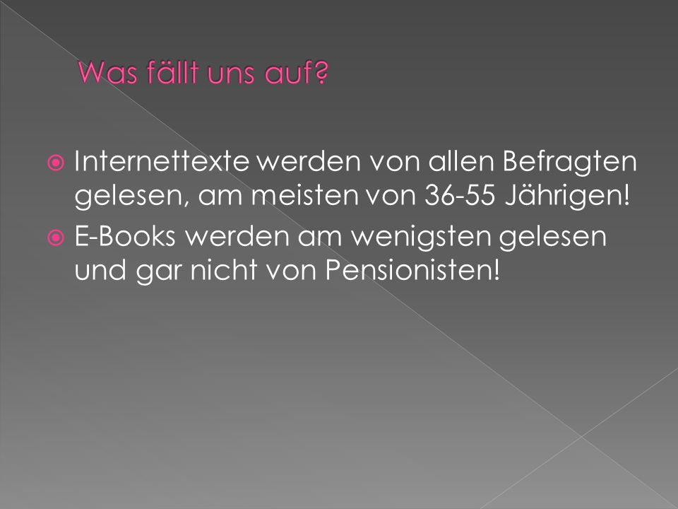 Internettexte werden von allen Befragten gelesen, am meisten von 36-55 Jährigen! E-Books werden am wenigsten gelesen und gar nicht von Pensionisten!
