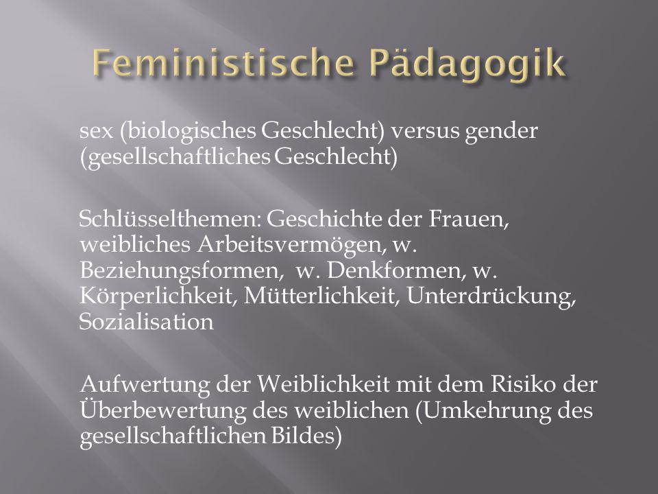 sex (biologisches Geschlecht) versus gender (gesellschaftliches Geschlecht) Schlüsselthemen: Geschichte der Frauen, weibliches Arbeitsvermögen, w.