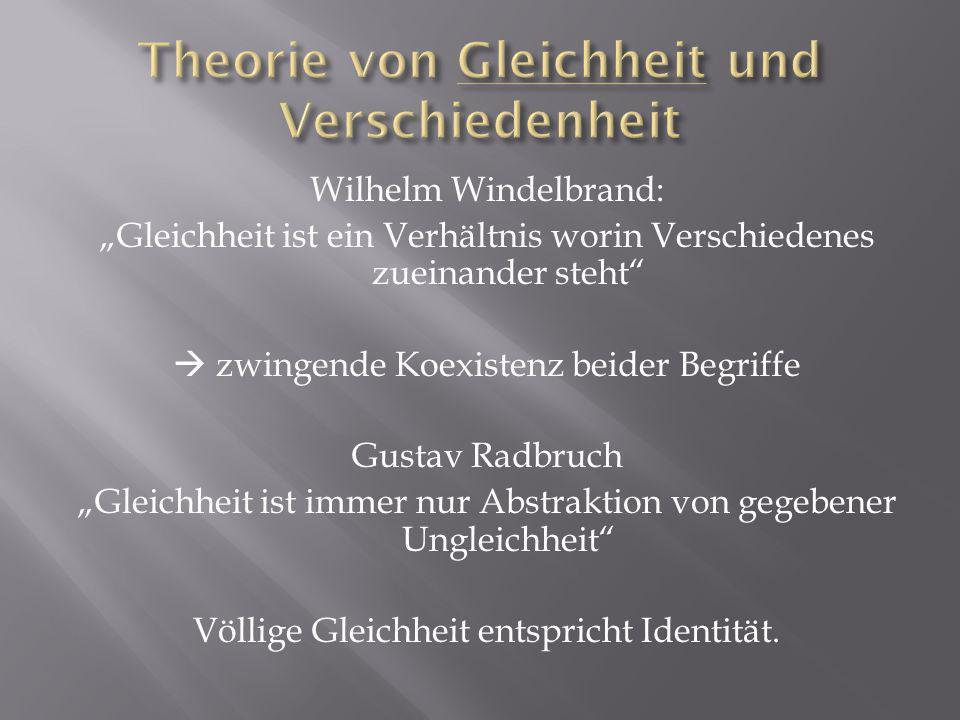 Wilhelm Windelbrand: Gleichheit ist ein Verhältnis worin Verschiedenes zueinander steht zwingende Koexistenz beider Begriffe Gustav Radbruch Gleichheit ist immer nur Abstraktion von gegebener Ungleichheit Völlige Gleichheit entspricht Identität.