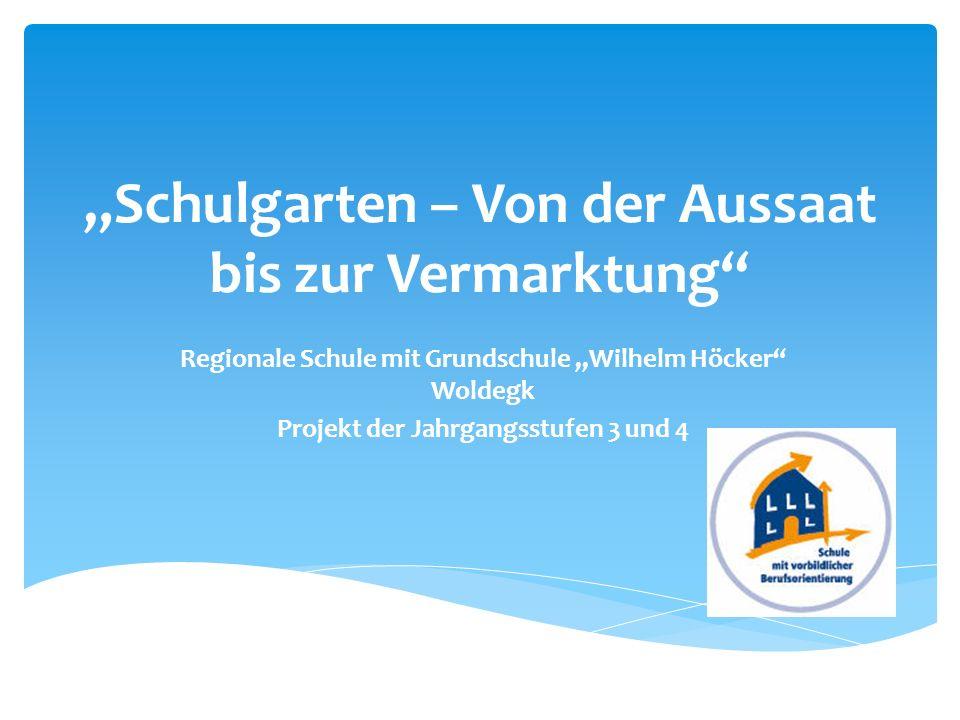 Schulgarten – Von der Aussaat bis zur Vermarktung Regionale Schule mit Grundschule Wilhelm Höcker Woldegk Projekt der Jahrgangsstufen 3 und 4