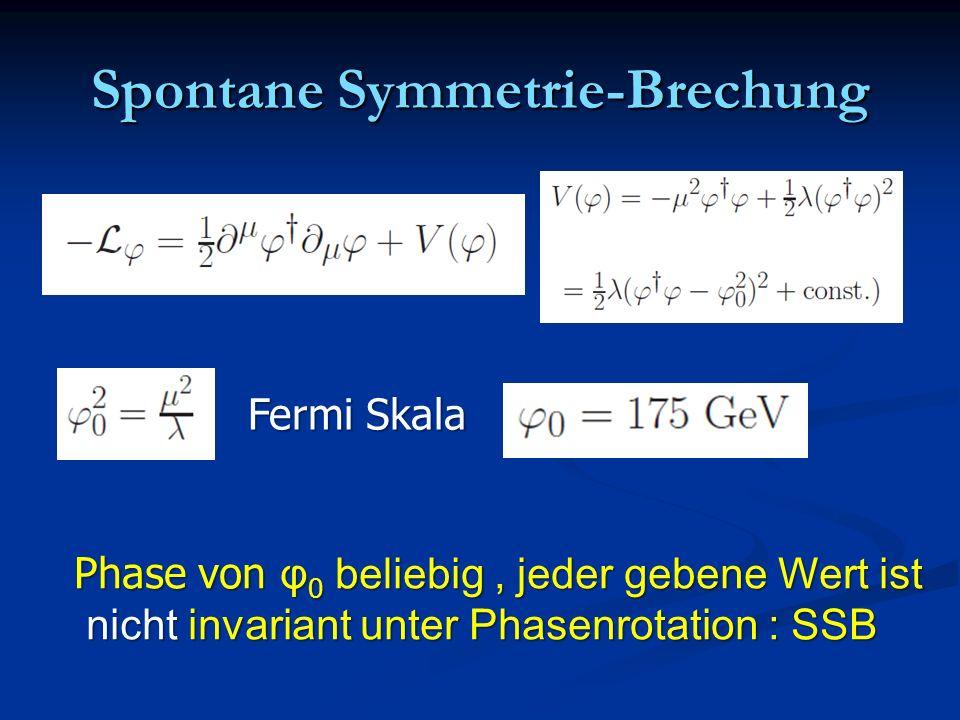 Spontane Symmetrie-Brechung Fermi Skala Phase von φ 0 beliebig, jeder gebene Wert ist nicht invariant unter Phasenrotation : SSB nicht invariant unter