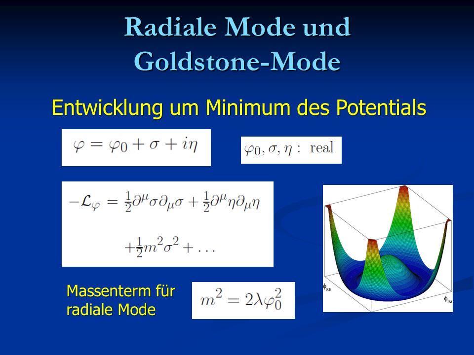 Radiale Mode und Goldstone-Mode Entwicklung um Minimum des Potentials Massenterm für radiale Mode