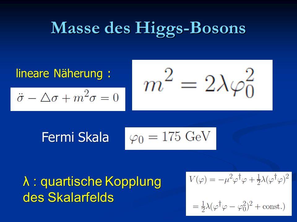 Masse des Higgs-Bosons Fermi Skala λ : quartische Kopplung des Skalarfelds lineare Näherung :