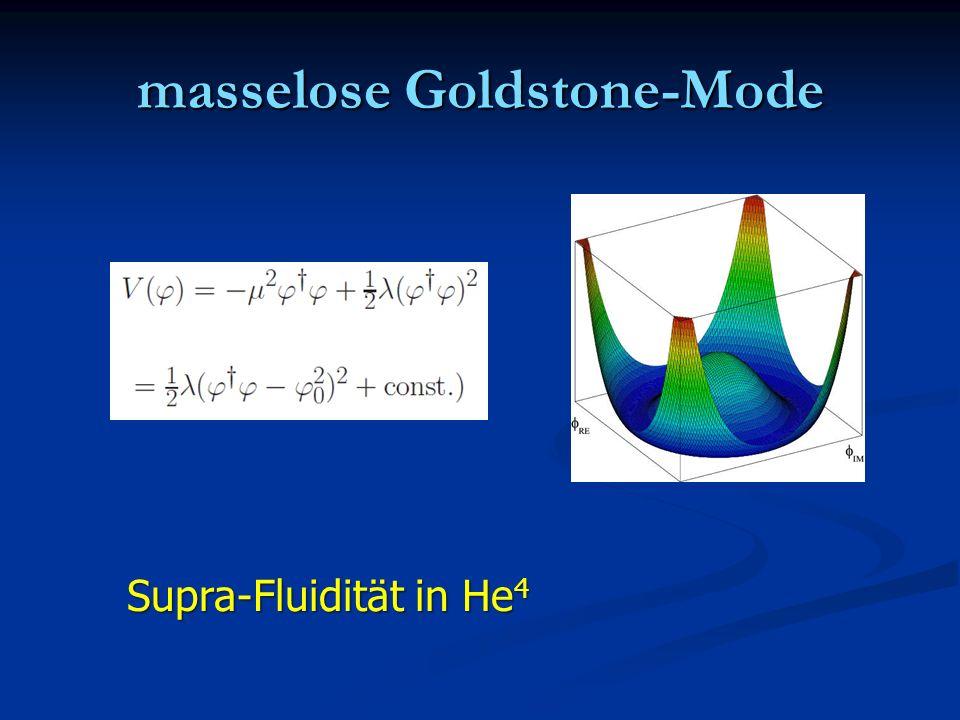 masselose Goldstone-Mode Supra-Fluidität in He 4