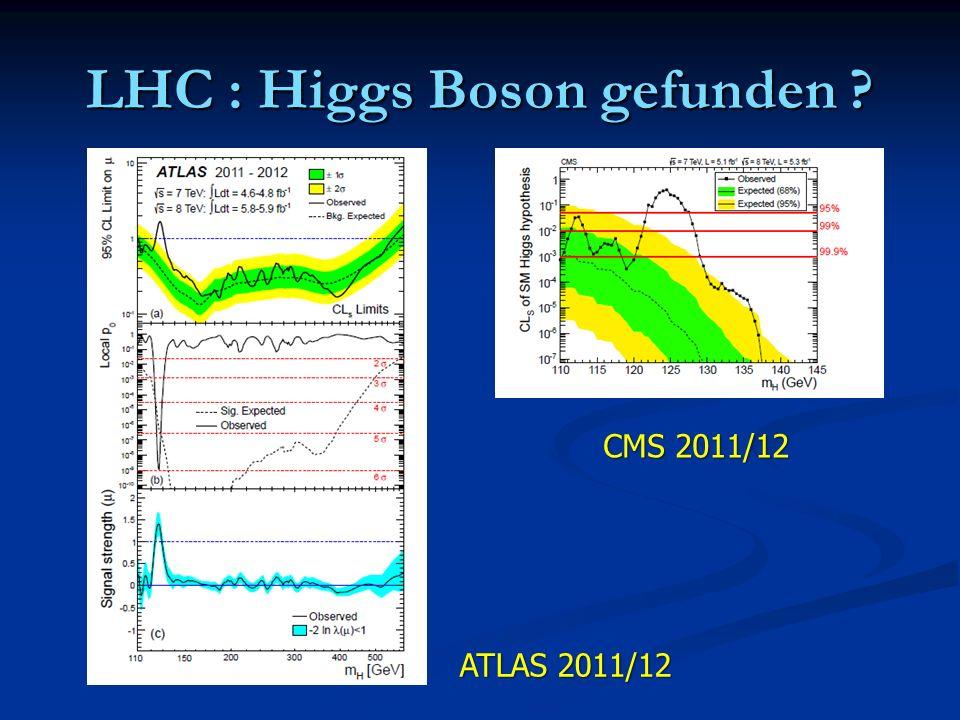 LHC : Higgs Boson gefunden ? CMS 2011/12 ATLAS 2011/12
