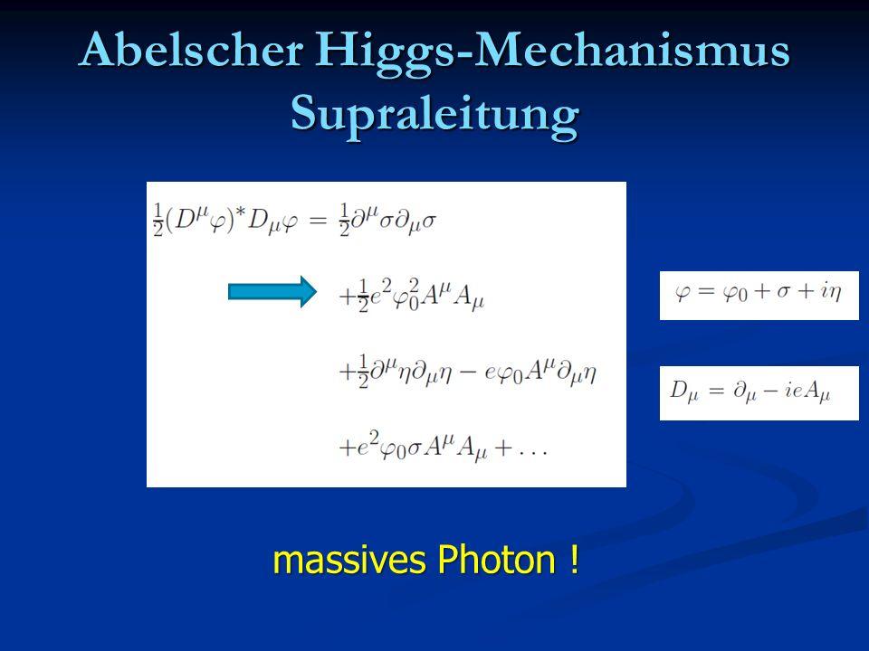 Abelscher Higgs-Mechanismus Supraleitung massives Photon !