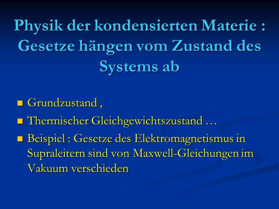 Physik der kondensierten Materie : Gesetze hängen vom Zustand des Systems ab Grundzustand, Grundzustand, Thermischer Gleichgewichtszustand … Thermisch