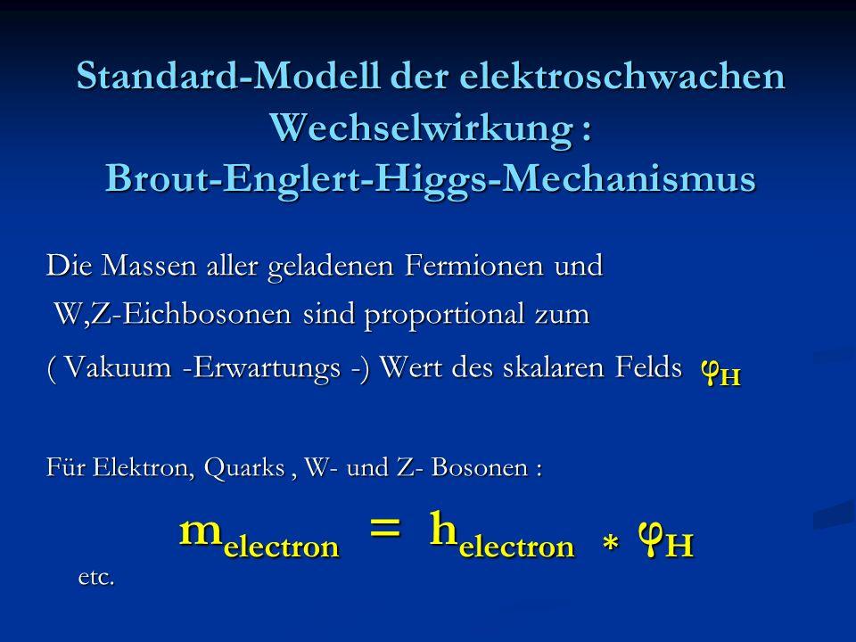 Standard-Modell der elektroschwachen Wechselwirkung : Brout-Englert-Higgs-Mechanismus Die Massen aller geladenen Fermionen und W,Z-Eichbosonen sind pr