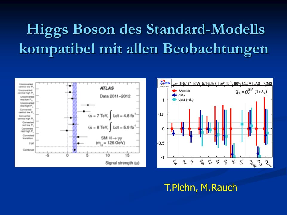 Higgs Boson des Standard-Modells kompatibel mit allen Beobachtungen Higgs Boson des Standard-Modells kompatibel mit allen Beobachtungen T.Plehn, M.Rau