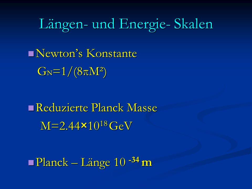 Längen- und Energie- Skalen Newtons Konstante Newtons Konstante G N =1/(8πM²) G N =1/(8πM²) Reduzierte Planck Masse Reduzierte Planck Masse M=2.44×10