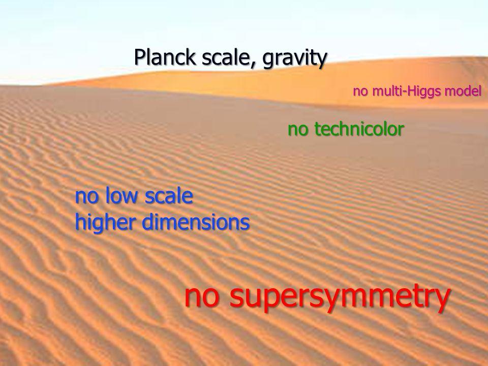 no supersymmetry no low scale higher dimensions no technicolor no multi-Higgs model Planck scale, gravity