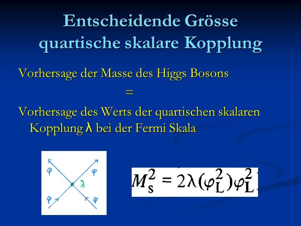 Entscheidende Grösse quartische skalare Kopplung Vorhersage der Masse des Higgs Bosons = Vorhersage des Werts der quartischen skalaren Kopplung λ bei