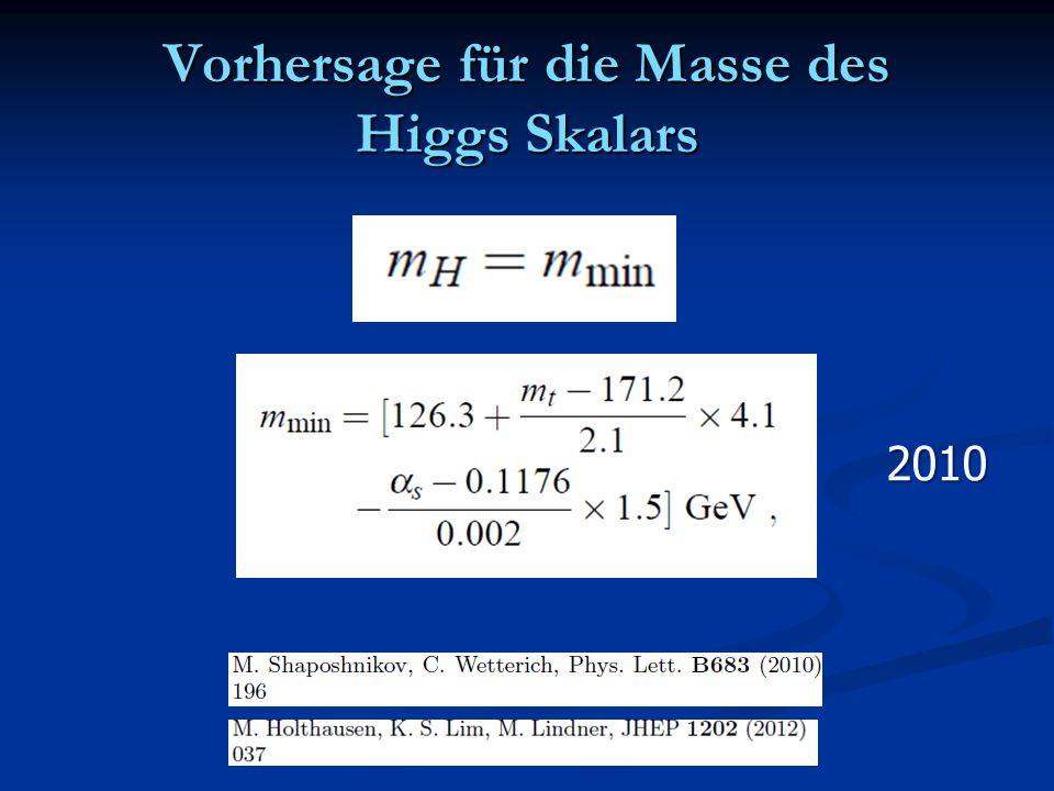 Vorhersage für die Masse des Higgs Skalars 2010