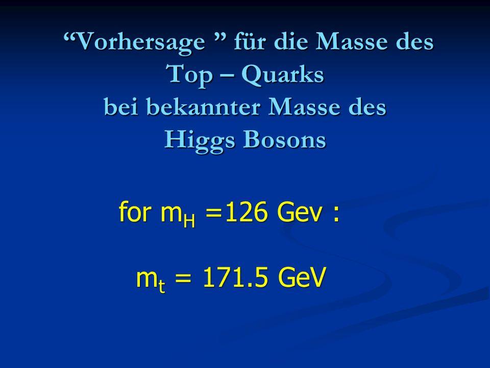 Vorhersage für die Masse des Top – Quarks bei bekannter Masse des Higgs Bosons Vorhersage für die Masse des Top – Quarks bei bekannter Masse des Higgs