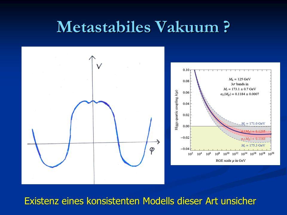Metastabiles Vakuum ? Existenz eines konsistenten Modells dieser Art unsicher