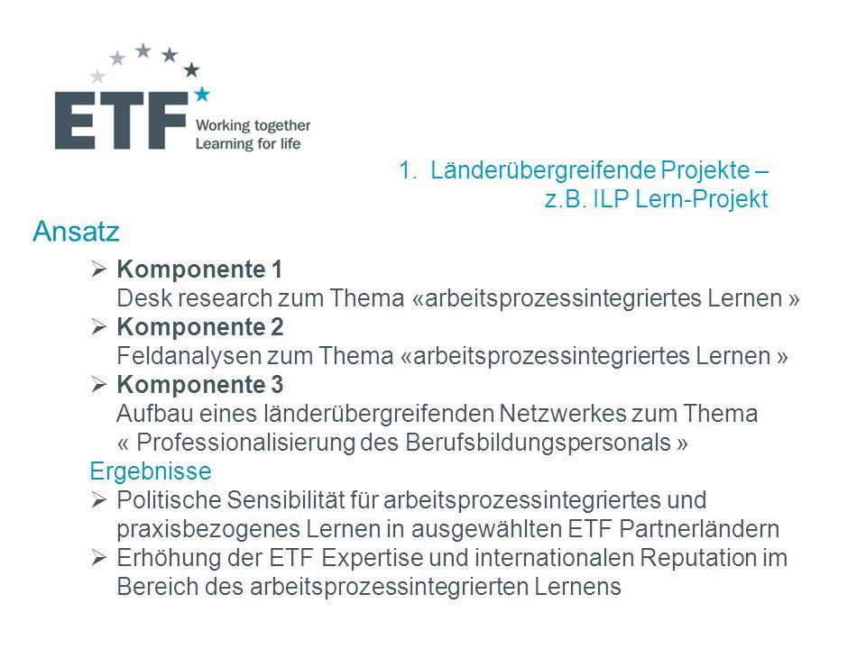1.Länderübergreifende Projekte – z.B. ILP Lern-Projekt Ansatz Komponente 1 Desk research zum Thema «arbeitsprozessintegriertes Lernen » Komponente 2 F