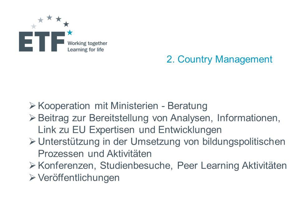 2. Country Management Kooperation mit Ministerien - Beratung Beitrag zur Bereitstellung von Analysen, Informationen, Link zu EU Expertisen und Entwick