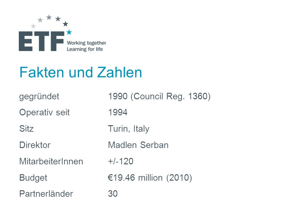 Fakten und Zahlen gegründet 1990 (Council Reg. 1360) Operativ seit 1994 SitzTurin, Italy DirektorMadlen Serban MitarbeiterInnen+/-120 Budget19.46 mill