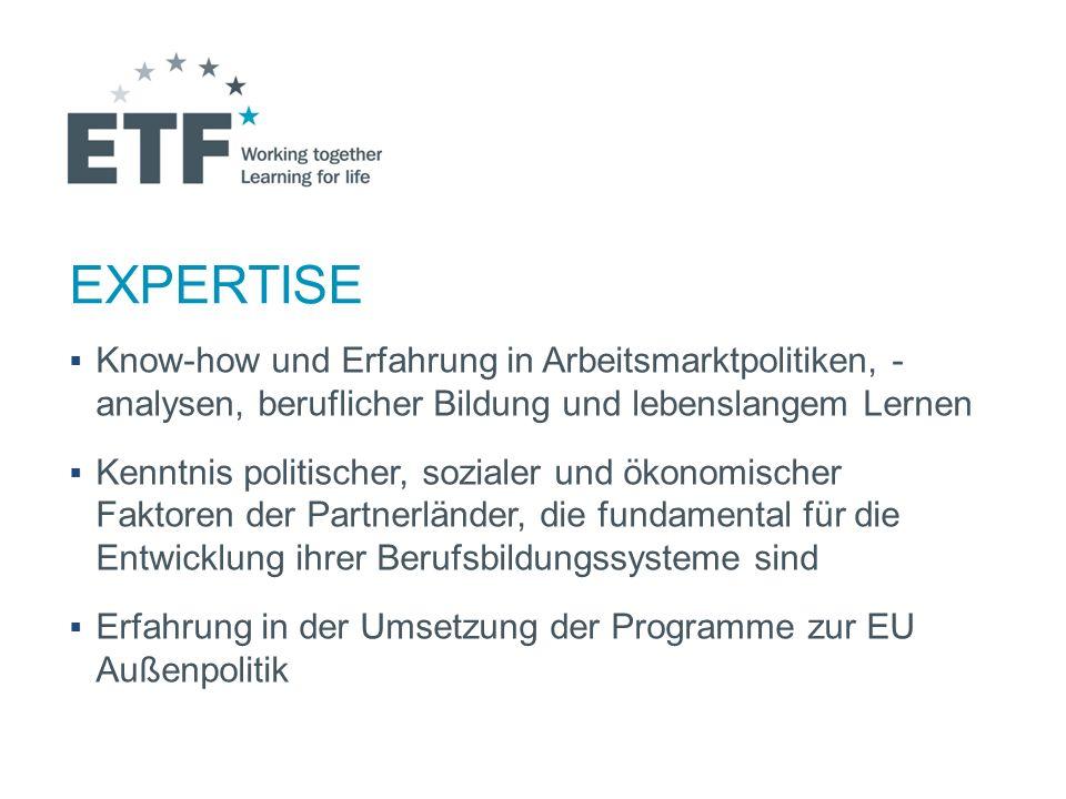 Dienstleistung Unterstützung in der Umsetzung der EU Programme und Verbreitung der EU Politiken Bereitstellung von Analysen, Informationen, Daten Entwicklung von Expertisen und Innovationen