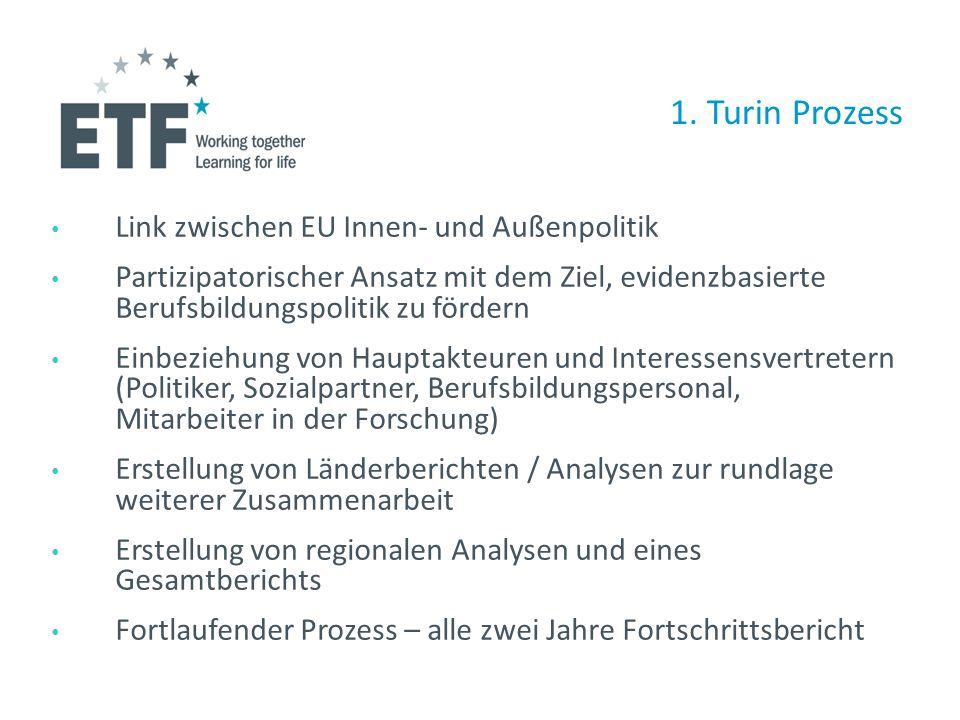 1. Turin Prozess Link zwischen EU Innen- und Außenpolitik Partizipatorischer Ansatz mit dem Ziel, evidenzbasierte Berufsbildungspolitik zu fördern Ein