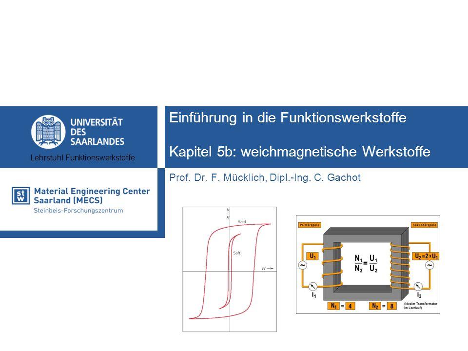 Funktionswerkstoffe II2 Lehrstuhl Funktionswerkstoffe Lernziele Kapitel 5b: weichmagnetische Werkstoffe Welche Eigenschaften zeichnen weichmagnetische Werkstoffe aus.