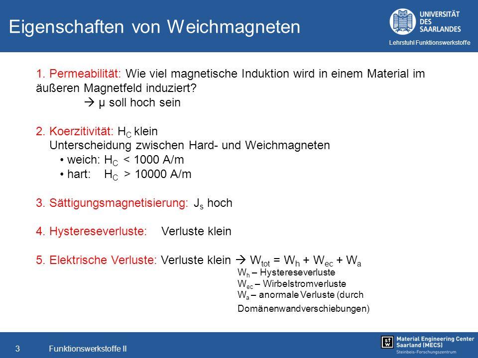 Funktionswerkstoffe II4 Lehrstuhl Funktionswerkstoffe Typische Eigenschaften von Weichmagneten