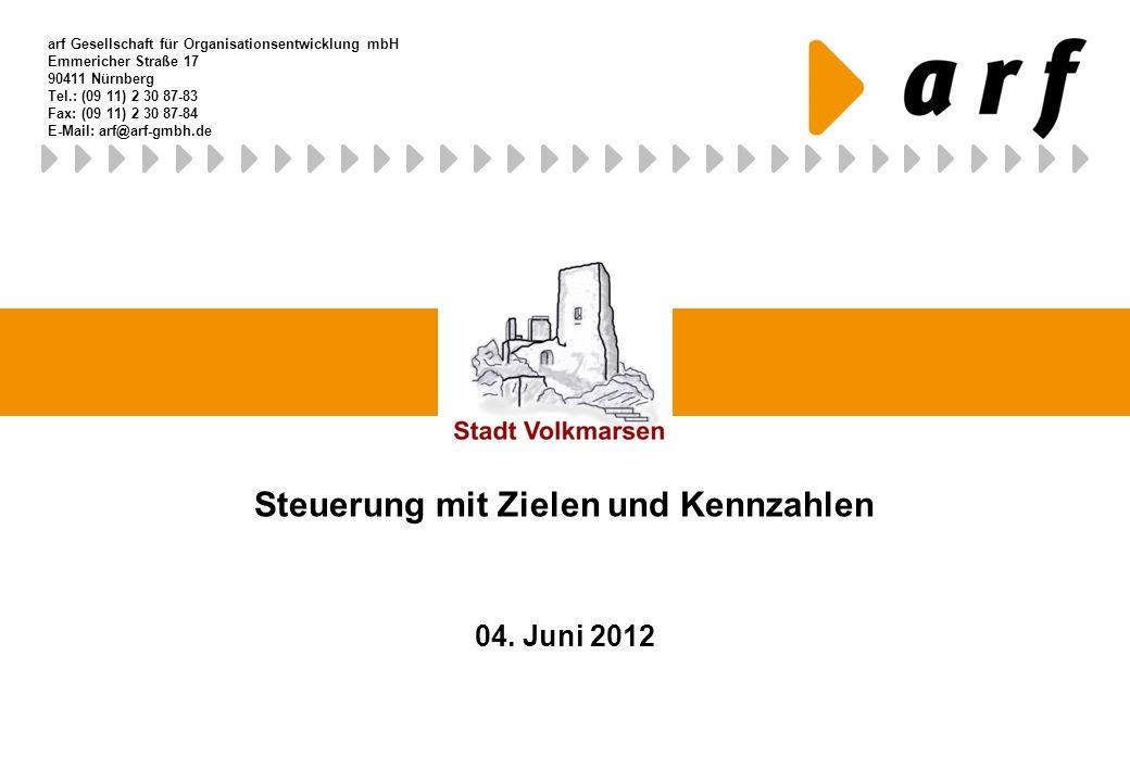 Steuerung mit Zielen und Kennzahlen 04. Juni 2012 arf Gesellschaft für Organisationsentwicklung mbH Emmericher Straße 17 90411 Nürnberg Tel.: (09 11)