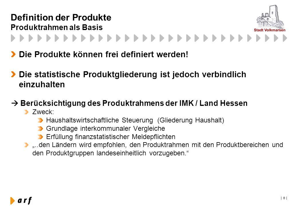   8   Definition der Produkte Produktrahmen als Basis Die Produkte können frei definiert werden! Die statistische Produktgliederung ist jedoch verbind
