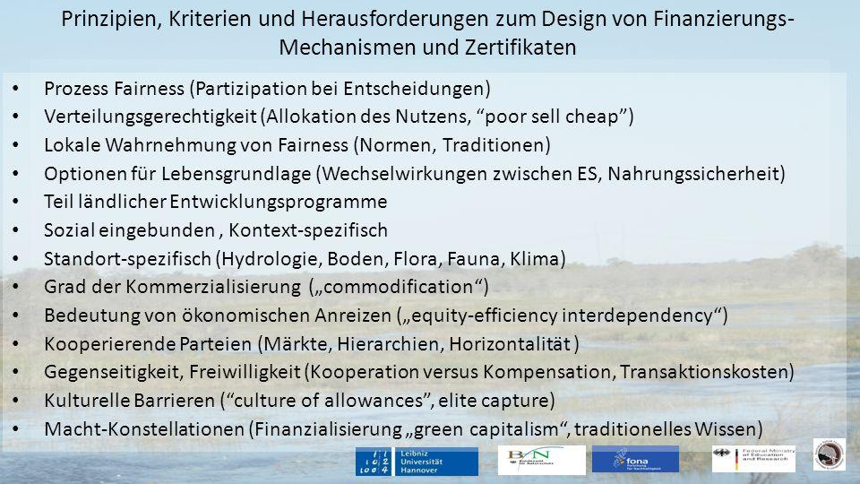 Prinzipien, Kriterien und Herausforderungen zum Design von Finanzierungs- Mechanismen und Zertifikaten Prozess Fairness (Partizipation bei Entscheidun