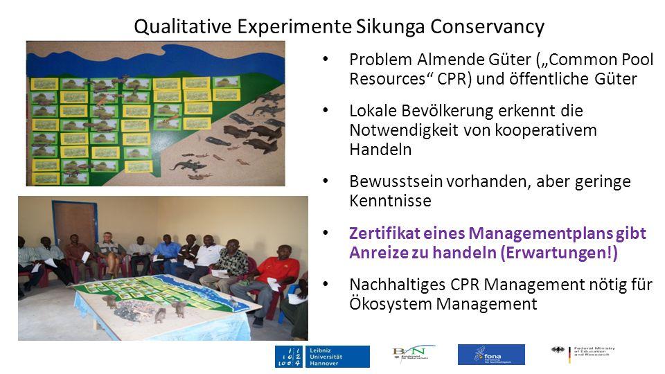 Qualitative Experimente Sikunga Conservancy Problem Almende Güter (Common Pool Resources CPR) und öffentliche Güter Lokale Bevölkerung erkennt die Not