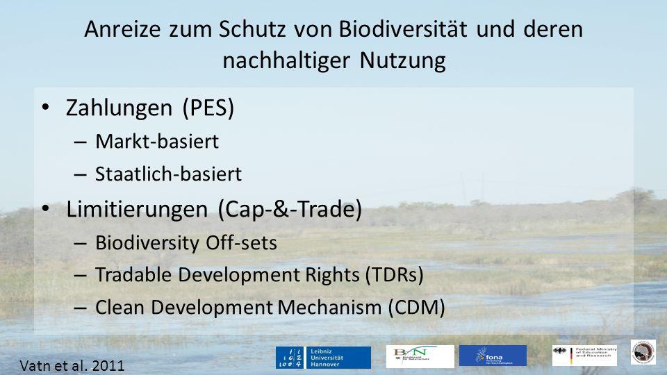 Anreize zum Schutz von Biodiversität und deren nachhaltiger Nutzung Zahlungen (PES) – Markt-basiert – Staatlich-basiert Limitierungen (Cap-&-Trade) –