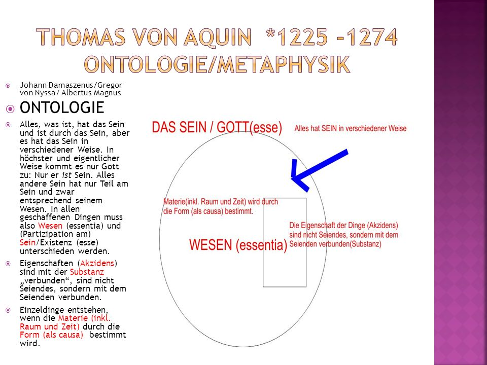 Johann Damaszenus/Gregor von Nyssa/ Albertus Magnus ONTOLOGIE Alles, was ist, hat das Sein und ist durch das Sein, aber es hat das Sein in verschieden