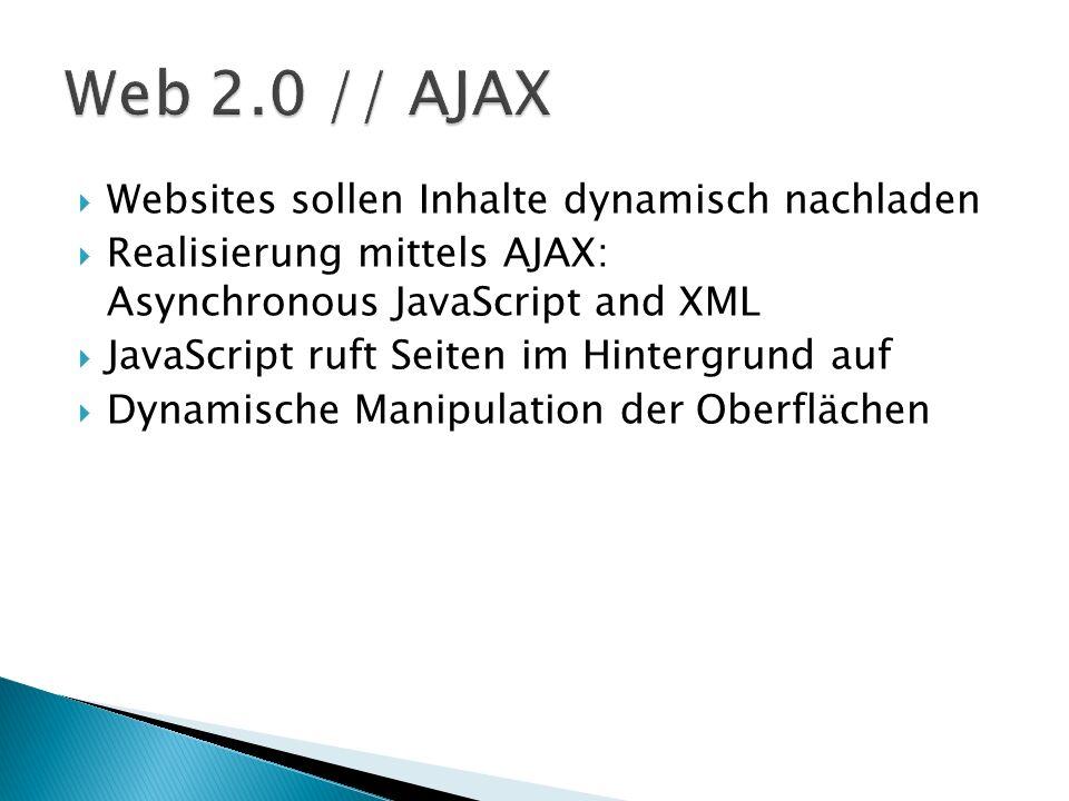 Websites sollen Inhalte dynamisch nachladen Realisierung mittels AJAX: Asynchronous JavaScript and XML JavaScript ruft Seiten im Hintergrund auf Dynam