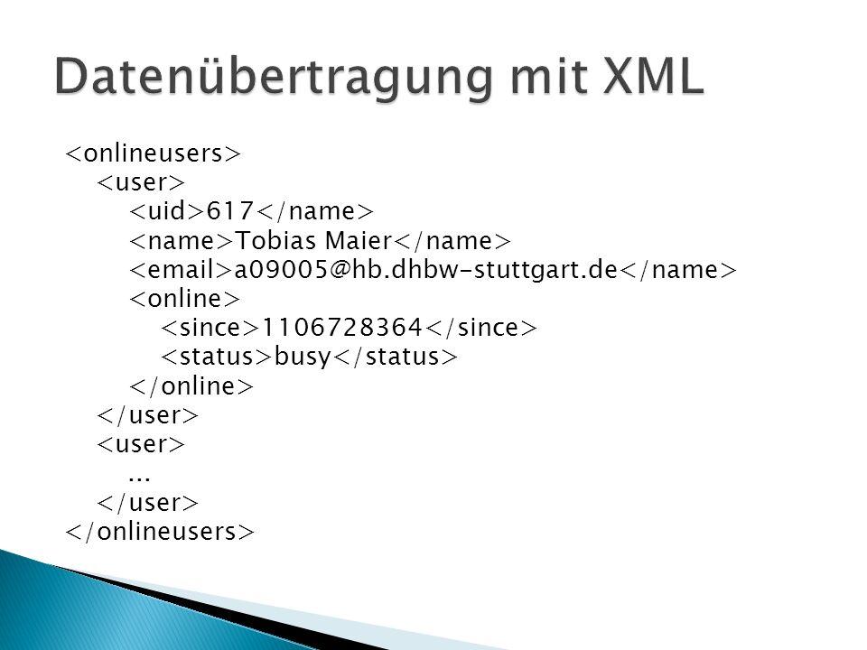 Großer Datenoverhead durch XML-Struktur Client-Seite (meist JavaScript) muss XML parsen, um brauchbare Daten zu erhalten Allerdings: Einsatz von Direkt-HTML möglich