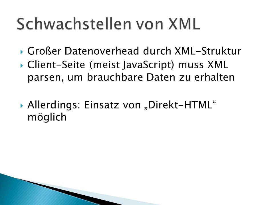 Großer Datenoverhead durch XML-Struktur Client-Seite (meist JavaScript) muss XML parsen, um brauchbare Daten zu erhalten Allerdings: Einsatz von Direk