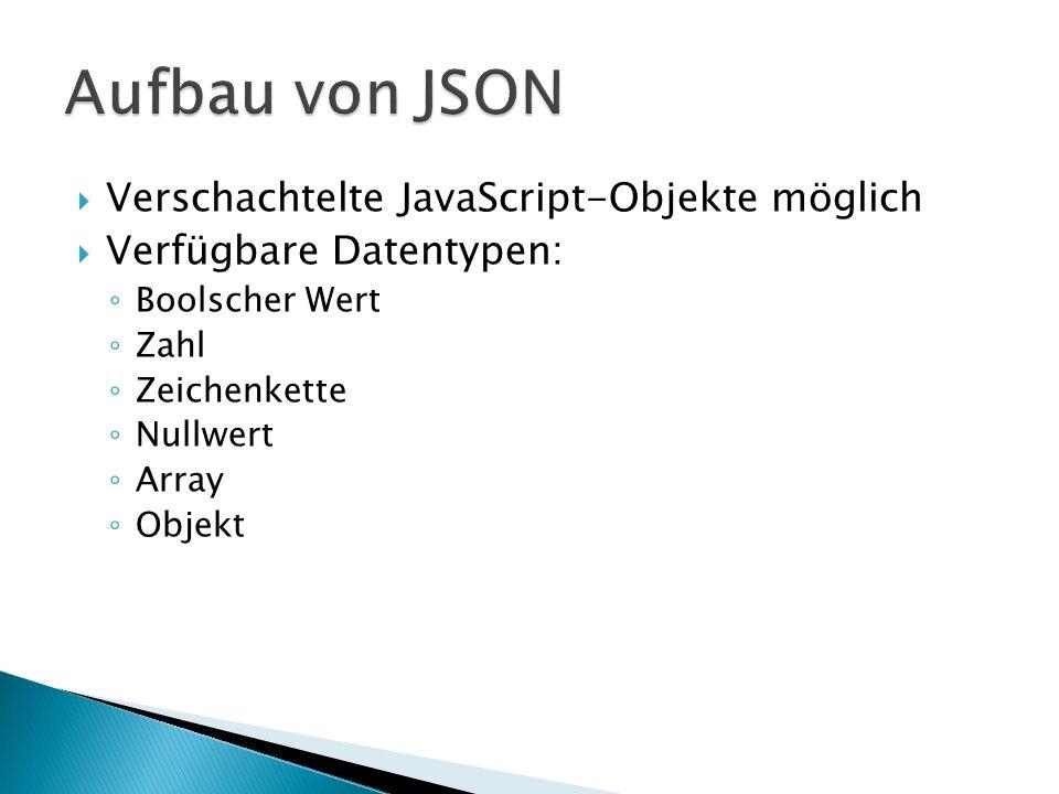 Verschachtelte JavaScript-Objekte möglich Verfügbare Datentypen: Boolscher Wert Zahl Zeichenkette Nullwert Array Objekt