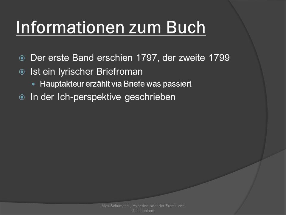 Informationen zum Buch Der erste Band erschien 1797, der zweite 1799 Ist ein lyrischer Briefroman Hauptakteur erzählt via Briefe was passiert In der I