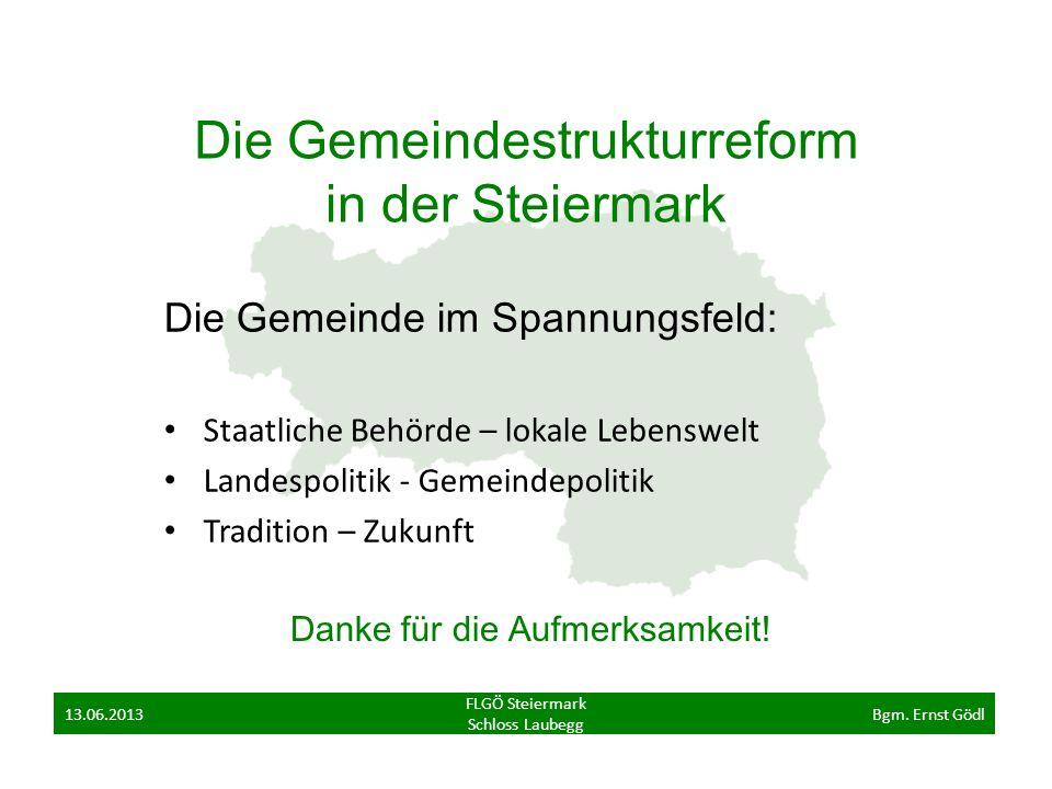 Die Gemeindestrukturreform in der Steiermark Die Gemeinde im Spannungsfeld: Staatliche Behörde – lokale Lebenswelt Landespolitik - Gemeindepolitik Tra
