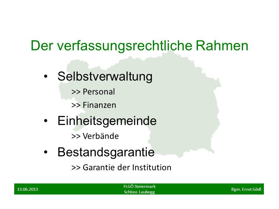 Der verfassungsrechtliche Rahmen Selbstverwaltung >> Personal >> Finanzen Einheitsgemeinde >> Verbände Bestandsgarantie >> Garantie der Institution FLGÖ Steiermark Schloss Laubegg 13.06.2013Bgm.