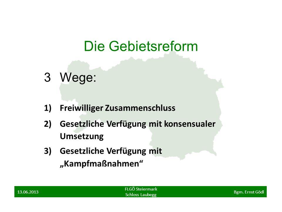Die Gebietsreform 3Wege: 1)Freiwilliger Zusammenschluss 2)Gesetzliche Verfügung mit konsensualer Umsetzung 3)Gesetzliche Verfügung mit Kampfmaßnahmen FLGÖ Steiermark Schloss Laubegg 13.06.2013Bgm.