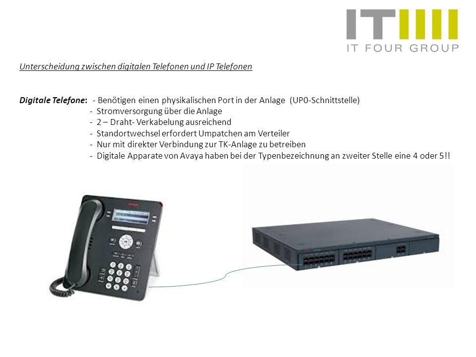 Unterscheidung zwischen digitalen Telefonen und IP Telefonen Digitale Telefone: - Benötigen einen physikalischen Port in der Anlage (UP0-Schnittstelle