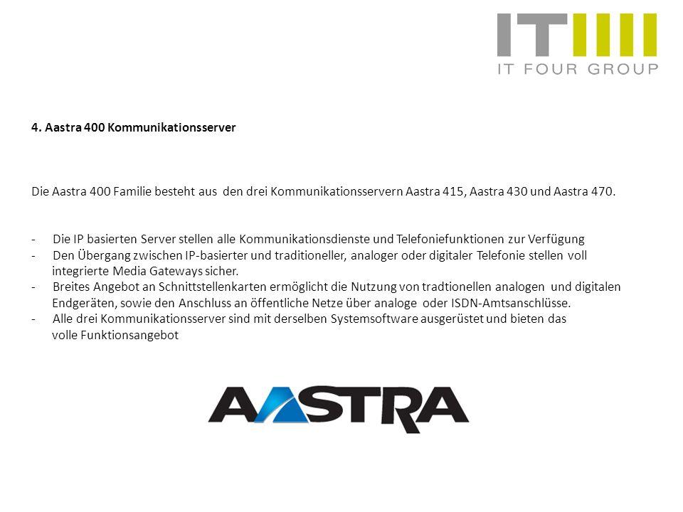 4. Aastra 400 Kommunikationsserver Die Aastra 400 Familie besteht aus den drei Kommunikationsservern Aastra 415, Aastra 430 und Aastra 470. -Die IP ba