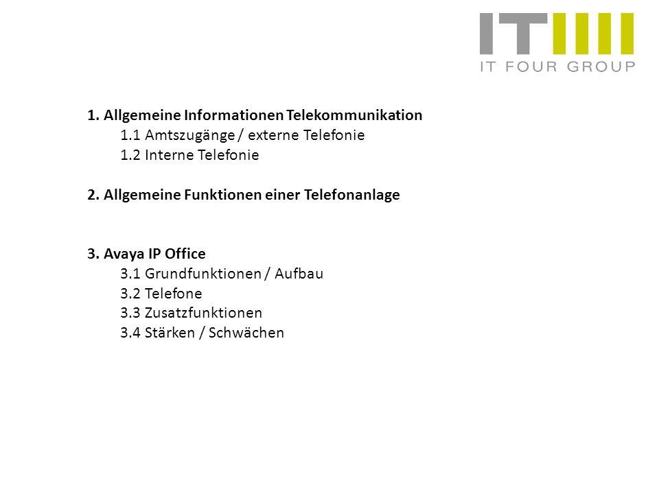 1. Allgemeine Informationen Telekommunikation 1.1 Amtszugänge / externe Telefonie 1.2 Interne Telefonie 2. Allgemeine Funktionen einer Telefonanlage 3